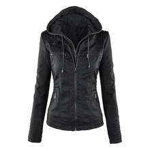 Gothic faux leather Jacket Vrouwen hoodies Winter Herfst Motorfiets Jas Zwart Bovenkleding kunstleer PU Jas 2019 Jas HOT(China)