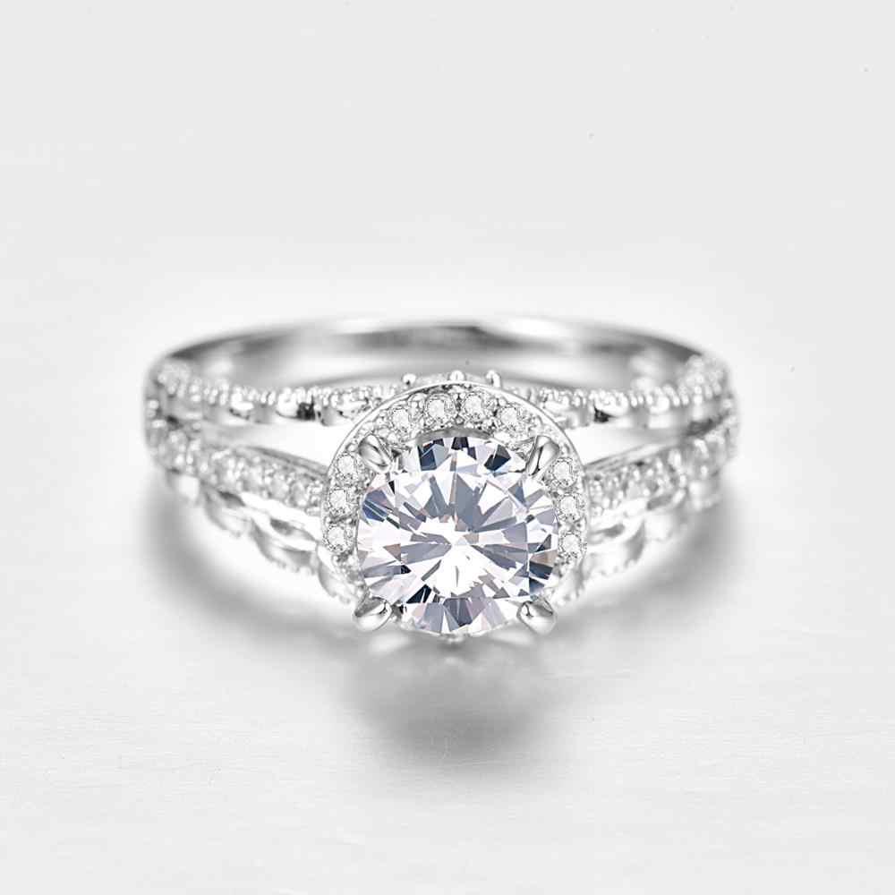 J.C okrągły Cut Mystic Rainbow & White Topaz 925 srebrny pierścień rozmiar 6 7 8 9 kobiety wykwintne biżuterii prezent