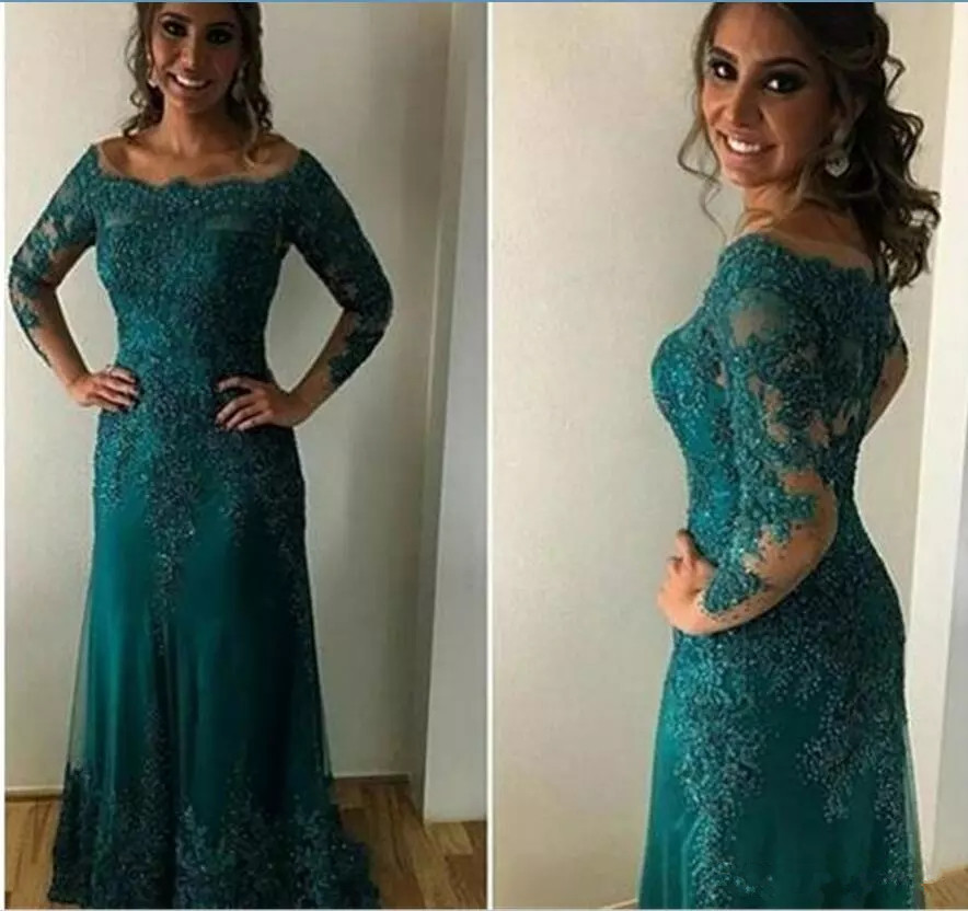 Green Mother Of The Bride Dresses Mermaid Long Sleeves Tulle Appliques Beaded Groom Mother Dresses For Weddings