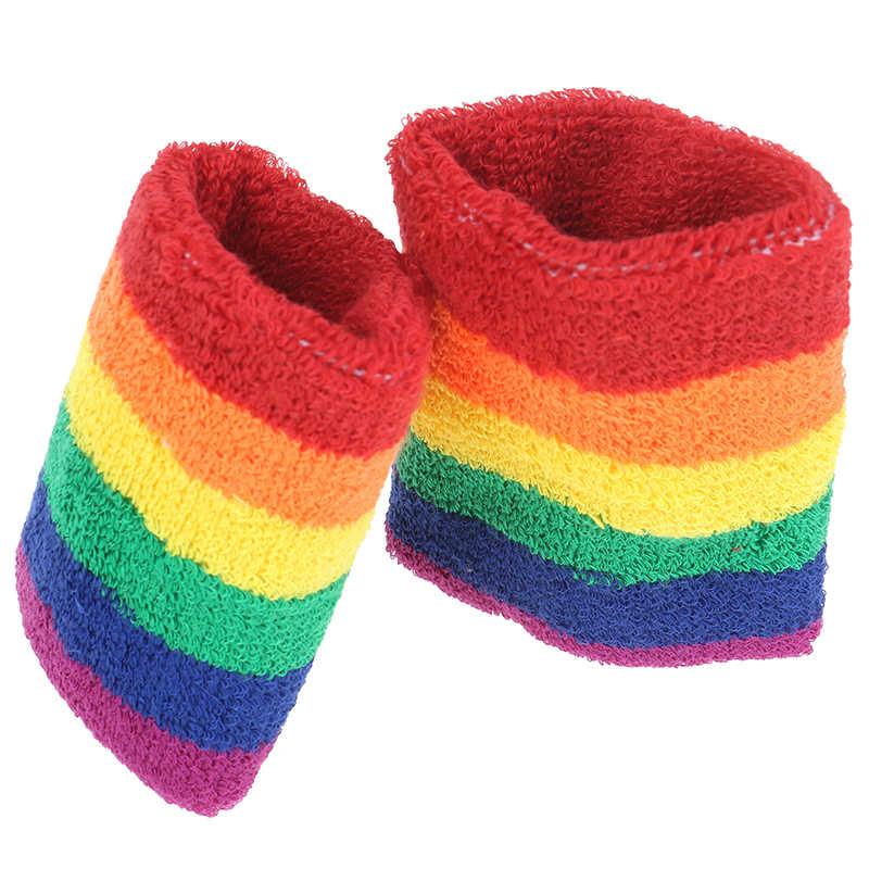 1 pieza Arco Iris Color suave algodón Wrap mano bádminton correr Fitness hombres mujeres pulsera transpirable caliente bracpers