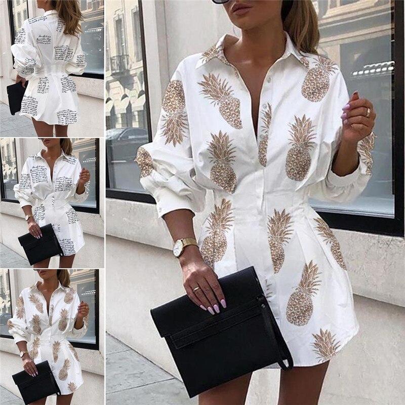 Hirigin 2019 Sexy Women OL V-neck Long Sleeve Blouse Dress Print High Waist Button Down Tops Shirt Dress Casual Loose Mini Dress