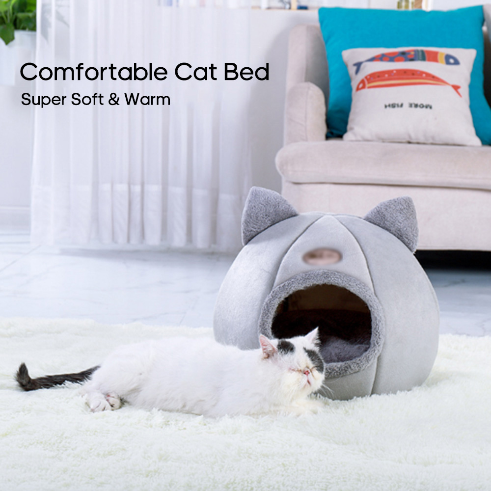 Warm Cat Bed Winter Soft Comfortable Pet Nest Indoor Semi-Enclosed Pet Cat Dog Sleeping Tent House Dog Bed Dog House Pet Bed(China)