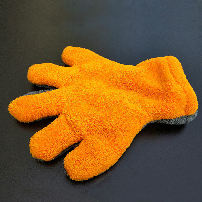 1pcs Multifunction Double-sided Special Coral Fleece 5 Finger Coral Fleece Cleaning Gloves Car Washproducts Care Detailling Tool