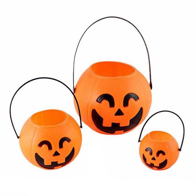 1pcs Orange Pumpkin Candy Holder Mini Trick-or-treat Halloween Candy Pumpkin Bucket