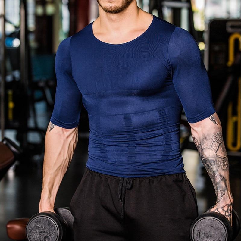 YOCheerful Men Shapewear Top Men Sportswear Vest for Weightloss Hot Neoprene Corset Body Shaper Tank Top Shirt Tee