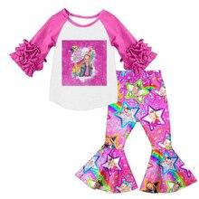 Sıcak satış bahar moda takım elbise karikatür baskı buzlanma yarım kollu yıldız baskı flare pantolon