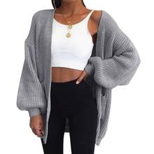 Women Cardigan Sweater Top Solid Color Batwing Sleeve Knit Sweater Cardigan Loose Open Front Sweater(China)