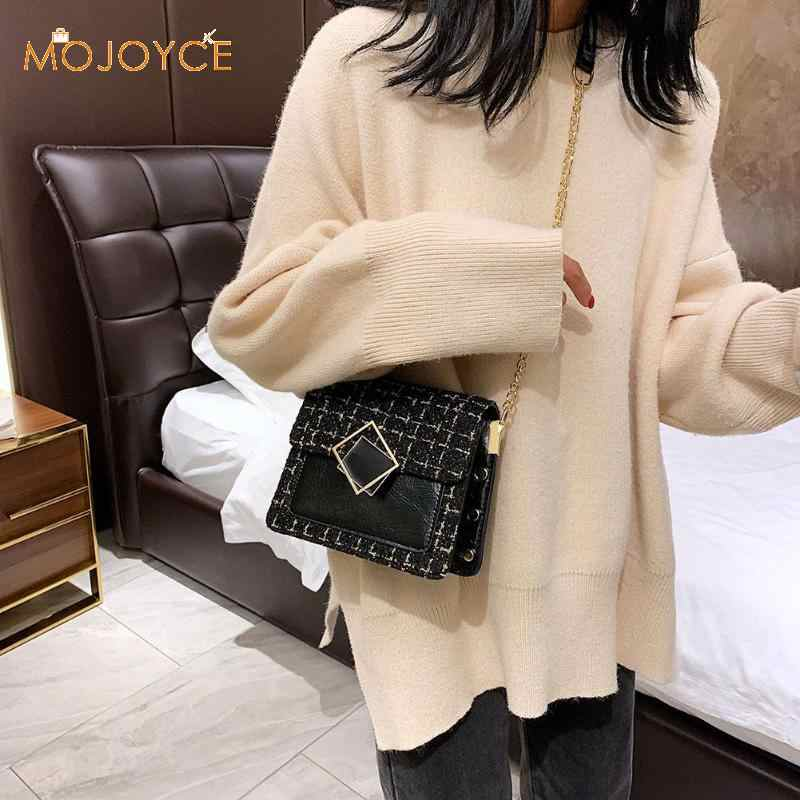 Leather Weave Crossbody Bags For Women 2019 Fall Chain Shoulder Messenger Bag Women Leather Classic Chain Shoulder Handbag