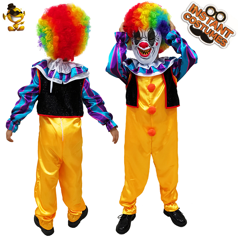 Kid Joker Pennywise  Costume Cosplay Halloween&Christmas Disguise Boy Killer Clown with Mask&Wig Joker Clothes Costumes