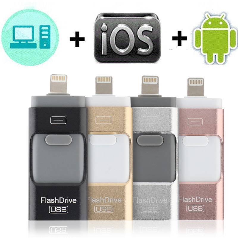 USB 3.0 Flash Drive 32GB 64GB 128GB Pen Drive For IPhone X 8 8 Plus 7 7 Plus USB Stick 8GB 16GB Metal Pendrive USB Flash Drive