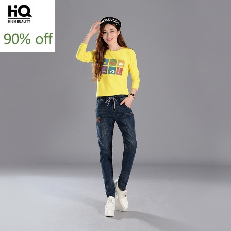 Fashion New Loose Fit Womens Full Length Denim Pants Streetwear Korean Pockets Drawstring Waist Female Harem Trousers Plus Size