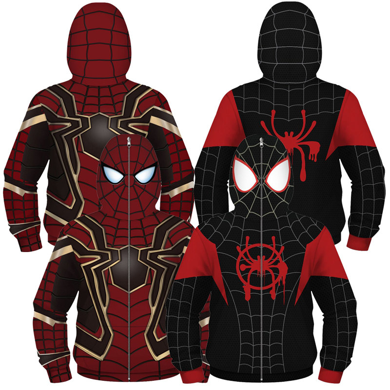 Boys Girls Hoodies Teens Spring Autumn Spiderman Outerwear Kids Hooded Sweatshirt Clothes Children Long Sleeve Pullover Tops 3D