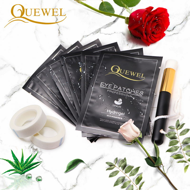Quewel Eyelashes Extension Practice Mat Eye Patch Set Gel Patch Eyelash Extension Tape Cleaning Brush Professional Makeup Tools