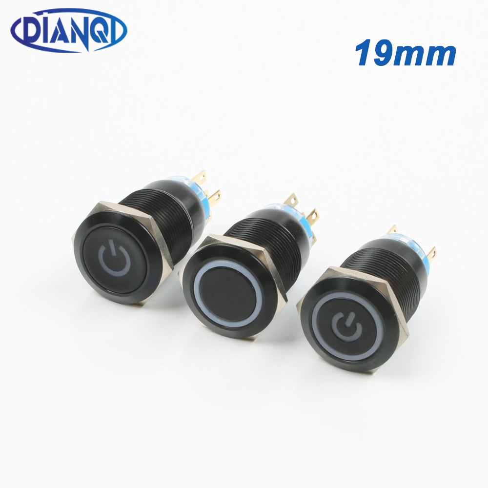 Waterproof Metal LED Self-locking Latching Push Button Power Switch 1NO1NC Red 12mm 12V Car Power Push Button Switch