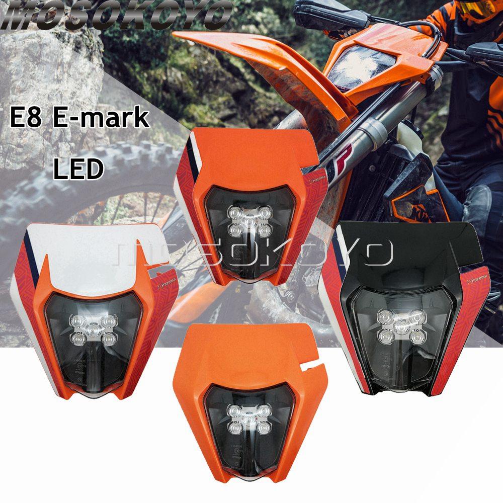 Emark-Headlight Fairing-Mask-Lamp Dirt-Bike Led Motocross WR KTM Dual-Sport E8 KX 12V
