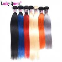 Mechones de cabello lacio peruano Lucky Queen extensiones de cabello humano Remy de 30 pulgadas 1B/rojo/azul/gris/naranja/613 Rubio