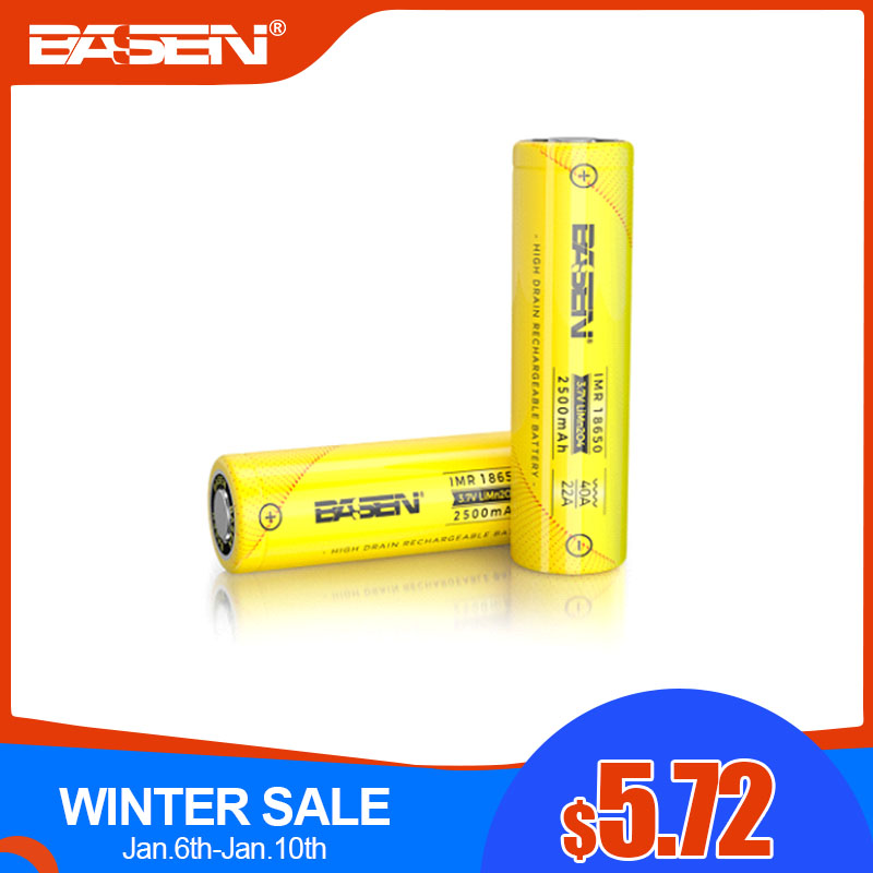 BASEN 2019 <font><b>18650</b></font> <font><b>2500mah</b></font> Lithium Rechargeable Battery with High Drain 40A 3.7V Discharger High Power Batteries for flashlights image