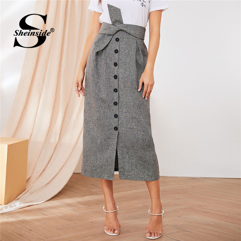 Sheinside Elegant Button Detail Slit Skirt Women 2019 Autumn High Waist Front Knot Midi Skirts Ladies Grey Straight Skirt