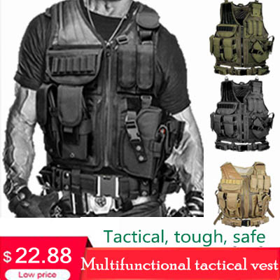 Tactical Vest Military Combat Armor Vests Mens Tactical Hunting Vest Army Adjustable Armor Outdoor CS Training Vest Airsoft