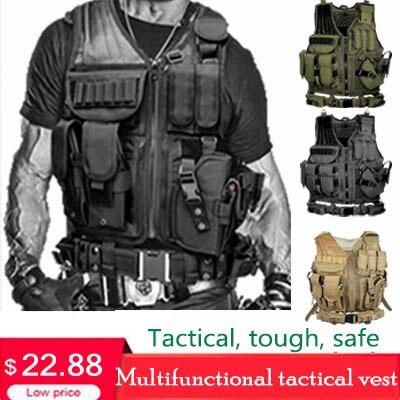 chaleco tactico Chalecos de camuflaje militar de combate para hombre chaleco táctico de caza Chaleco de armadura ajustable del ejército Chaleco de entrenamiento CS al aire libre Airsoft