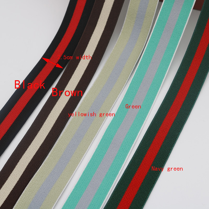 5 Meters Color Stripe <font><b>Elastic</b></font> Band <font><b>25MM</b></font> High Quality Soft Nylon Rubber For Sewing Clothing Accessories image