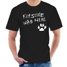 Camisa de t dos homens raposa kitsune t camisa japonesa raposa kitsune estava aqui imprimir gótico lolita pastel goth bonito asiático t feminino @ 001031
