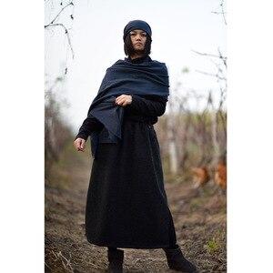 Image 4 - فستان نسائي شتوي مقاس كبير مخطط برقبة على شكل V فساتين نسائية بخطوط كبيرة الحجم من القطن والكتان فستان نسائي طويل مقاس 2020