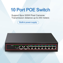 10Port POE Ethernet Switch 48V VLAN 10/100Mbps IEEE 802.3 af/at Network Switch for CCTV IP Camera Wireless AP 250M Drop Shipping fghgf poe splitter 10 100mbps poe switch ieee802 3af at standard 48v input 12v output for cctv ip camera ahd dvr nvr