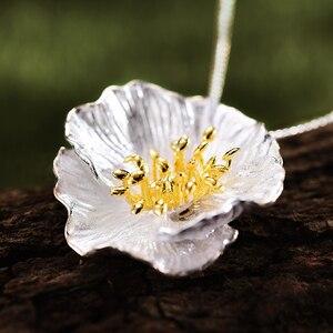 Image 2 - Lotus zabawy prawdziwe 925 Sterling Silver Handmade Fine Jewelry 18K złota kwitnące maki wisiorek kwiat bez naszyjnik dla kobiet