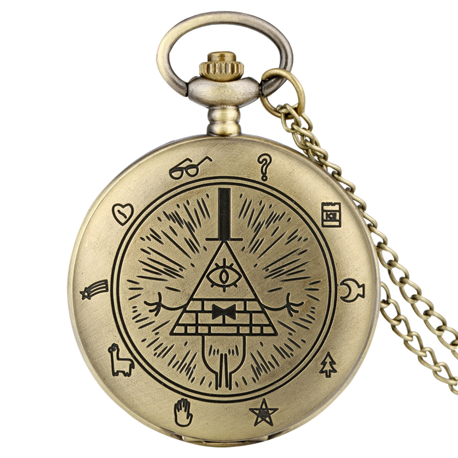 Gravity Fall Bill Cipher Time Gem Necklace Quartz Pocket Watch Weird Town Triangle One-Eyed Devil Pendant Chain For Men Women