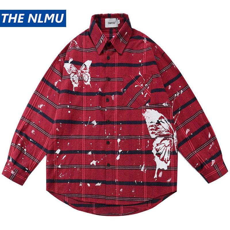 Long Sleeve Butterfly Print Plaid Shirt Streetwear 2020 Autumn Harajuku Hip Hop Casual Loose Button Dress Shirts Men Tops WY150