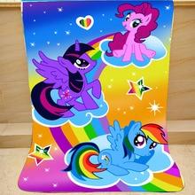 Cartoon My Little Pony Coral Fleece Pluche Enkele Val Deken Voor Bed Slapen Cover Beddengoed Eenhoorn Gooi Deken Eenhoorn