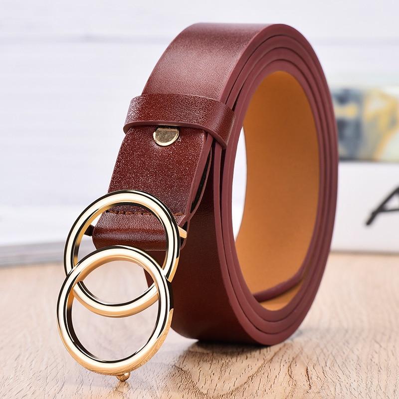 NO. ONEPAUL дизайнер известный бренд кожа высокое качество ремень Мода сплав двойное кольцо круглая пряжка девушка джинсы платье дикие ремни - Цвет: SYL wine red