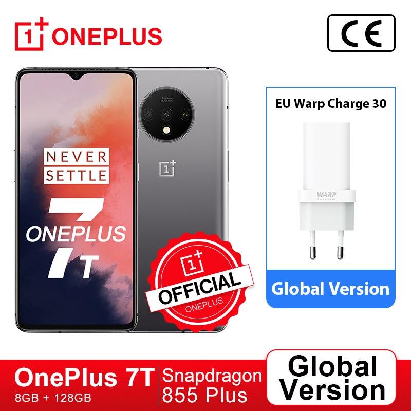 Глобальная версия OnePlus 7 T, 7 T, Snapdragon 855 плюс, смартфон, четыре ядра, 6,55 ''90 Гц активно-матричные осид, Экран 48MP тройной Cam Warp заряжайте 30T