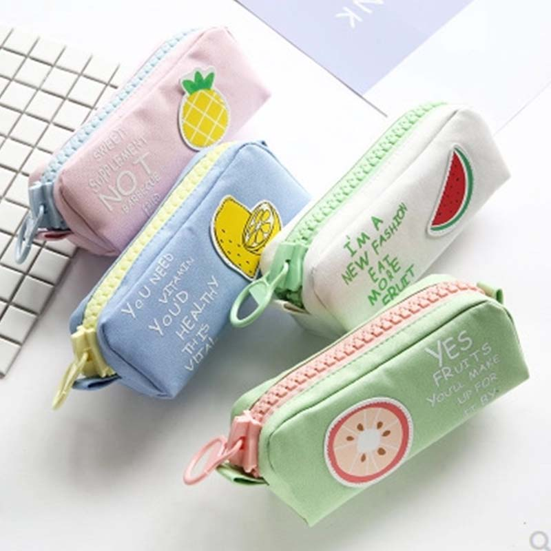 <font><b>Big</b></font> Zipper Fruit <font><b>Pencil</b></font> <font><b>Case</b></font> Cute Unicorn Dog Large Capacity <font><b>Canvas</b></font> School <font><b>Pencil</b></font> Bag pen Pouch School Supplies Zakka image