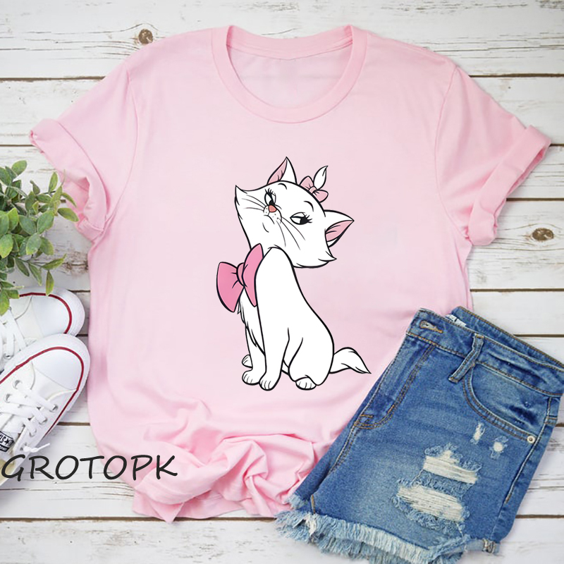 Marie Aristocats Women's T-Shirts Summer Clothing Fashion T Shirt For Women Sportswear Fitness Harajuku T-Shirt Top