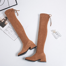Over The Knee Boots Women 2019 New Full Boots Fashion Winter Women Boots High Heels Sexy Boots Slip On Elegant Warm Black Boots fashion leather boots over the knee boots ladies warm slip on sexy boots high heels boots women autumn winter women boots 2019