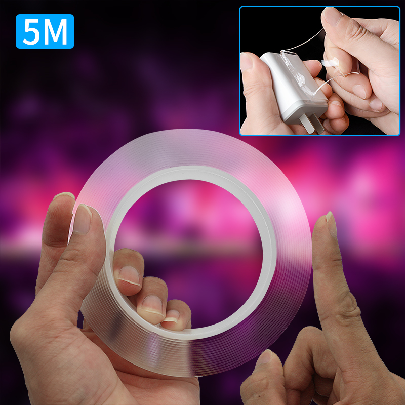 Waterproof Adhesive Tape 3m 5m Multifunctional Double Sided Tape Nano Transparent Cleanable Reuse No Trace Acrylic Magic Tape|Car Stickers| |  - title=