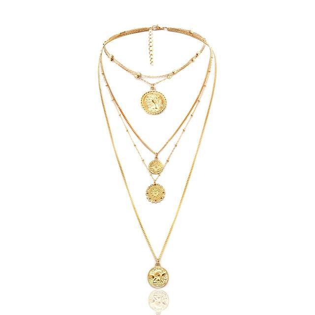 Ingesight. Z Boho 5 Multi Layer largo ajustable cadena 4 colgante collar gargantilla de moda moneda reina joyería mujer regalo