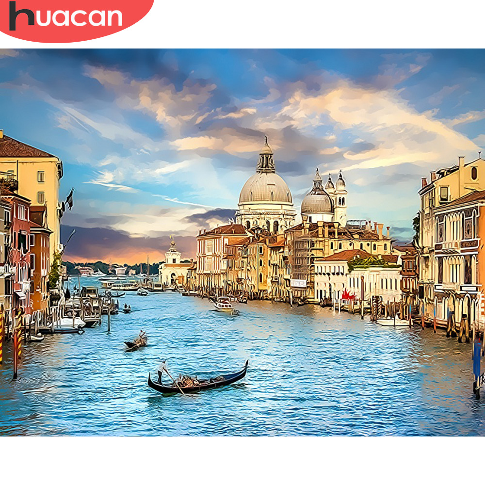 HUACAN DIY Oil Painting By Numbers Venice Landscape Kits Drawing Canvas HandPainted Gift Pictures City Scenery Home Decor