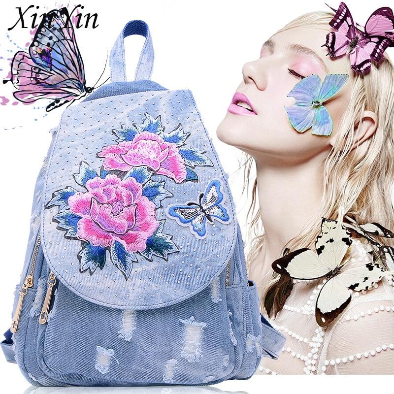 Vintage Travel Luxury Crystal Denim Big Zipper Backpack Casual Women Flower Embroidery Bag Fashion School Backpack Teenager