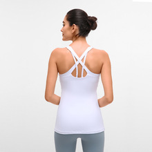 2020 New Female's Cotton Long Yoga Gym Vest With Chest Pad Women's Sports Running Cross Mesh Straps Back Shockproof Fitness Top long sleeve top with cross back