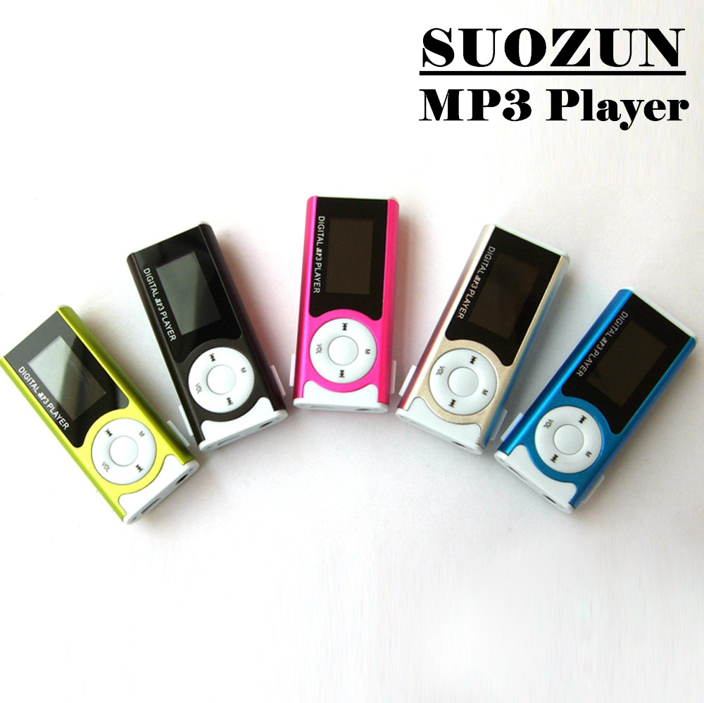 SUOZUN Sport MP3 Media Player New Mini Music Player Shiny Mini USB Clip LCD Screen Support 16GB Micro SD Card MP3/WMA Jan6