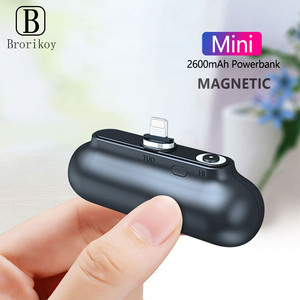 2600mAH Mini Power Bank Back Battery USB Micro Type-C Cable for iPhone 11 Xs Samsung Xiaomi Portable Power Bank Magnetic Charger(China)