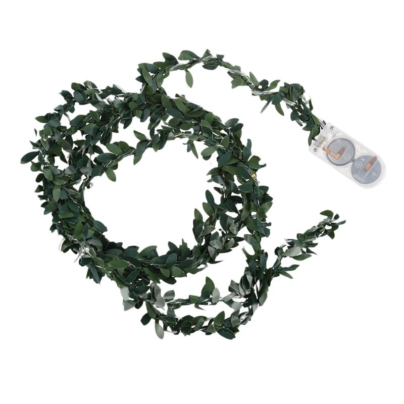 2M 20 LEDs Leaf Garland Button Battery Operate Copper LED Fairy String Lights For Christmas Wedding Decoration Party, Warm White