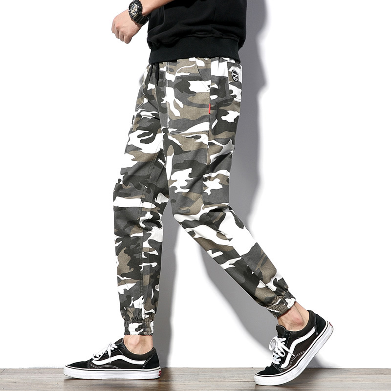 Korean-style Slim Fit Men Cotton Pure Cotton Casual Pants Camouflage Printed Trousers Ankle Banded Pants Skinny Pants Plus-sized