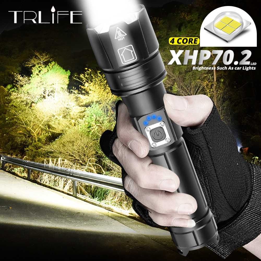 Ultra Most Powerful LED Flashlight XLamp XHP70.2 USB Rechargeable XHP50 Tactical Light 18650 26650 Zoom Led Torch Camping Lamp