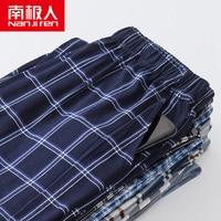 Nanjiren-pantalones de algodón a cuadros para hombre, ropa de descanso para el hogar