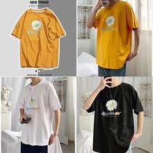 2020 Summer T-Shirt Men Fashion Printed Flowers Loose Round
