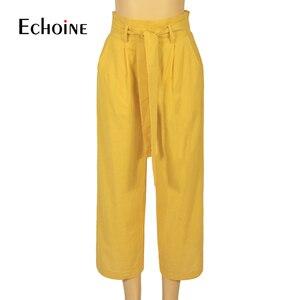 Image 5 - ผ้าฝ้ายลินินผู้หญิงสูงเอวกว้างขากางเกงฤดูร้อนฤดูใบไม้ร่วง Office band หลวม Palazzo กางเกงหญิงสีดำกางเกงสีเหลือง